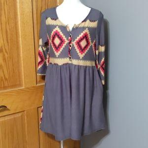 Reborn Southwest Print Knit Dress